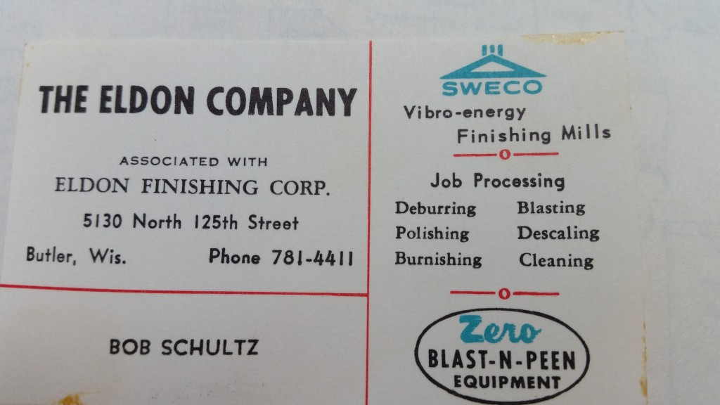 Bob Schultz EFCO finishing early business card