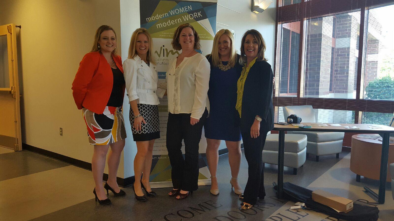 Natalie Walters, Waukesha State Bank; Teresa Schell, Vive; Antonia Stone, Busch Precision; Linda Malwitz, Vive; April Schultz, EFCO Finishing