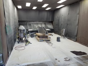 Glass Blasting: EFCO metal finishing Milwaukee's glass blast room