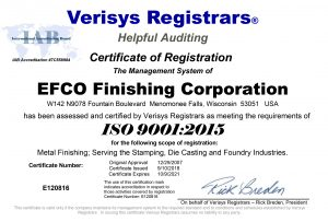EFCO Finishing Earns ISO 9001:2015 Certification